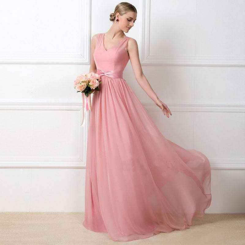 Prom Dresses 2017 Hot Sale High Quality Blush Pink Chiffon Long V ...