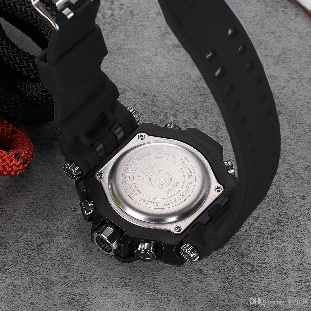 NOVA Marca Original OHSEN Moda Quartzo Relógio Digital Homens Orologio Uomo 50 m de Natação Relógio Do Esporte Faixa de Borracha Lcd Relógio de Pulso Relogios