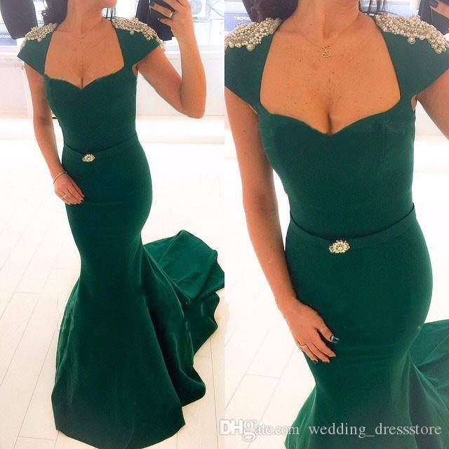 green mermaid evening dresses 2017 new sexy v-neck luxury pearls short sleeve court train long party gowns vestidos