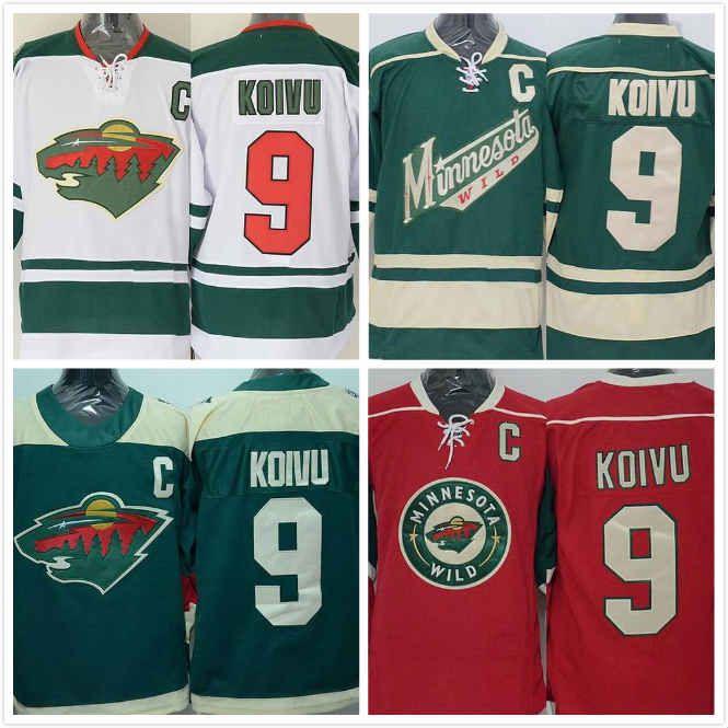 e59a4071c Cheap Mens Mikko Koivu Jersey 9 Minnesota Ice Hockey Jersey 100 ...