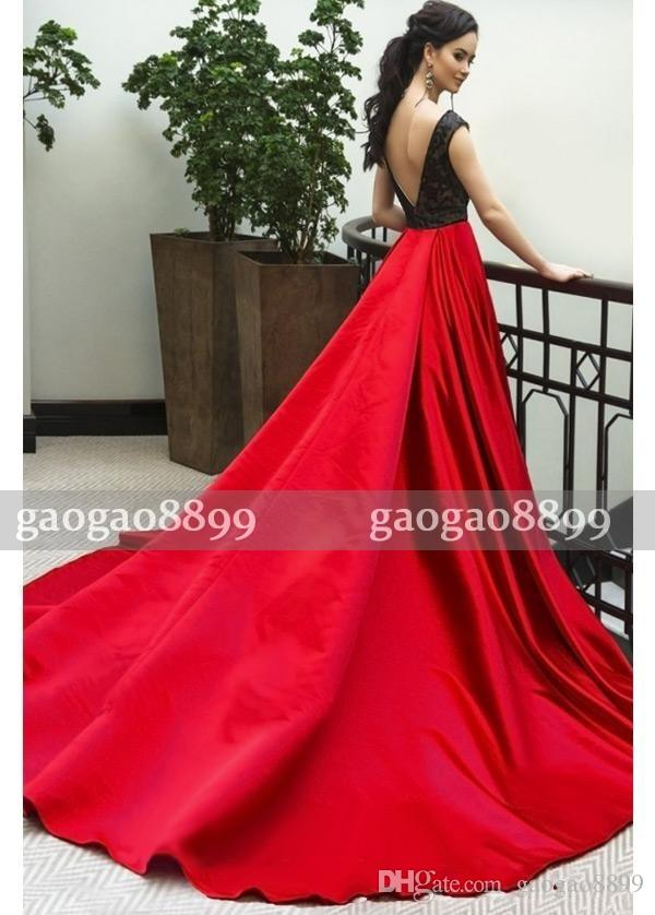 2017 New Arrival Black And Red A-Line Prom Dresses With Cap Sleeves Scoop Neck Backless Cheap Formal Dresses Evening Party Wear