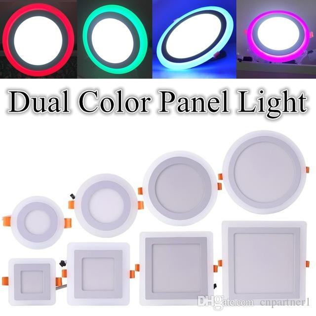 Fast Ship Round Square Led Panel Light Dual Color Red Green Blue Pink White 6w 9w 16w 24w Ultra Slim Recessed Ceiling Lamp Lights Trimless