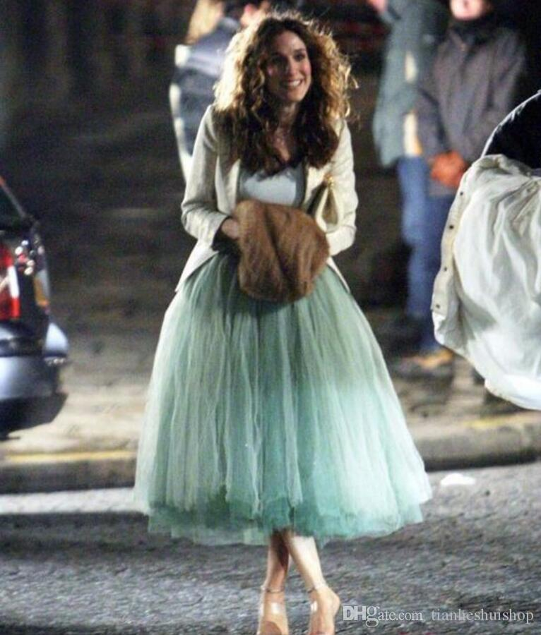 d8548c94967 2019 Super Puffy Thick Tulle Skirt Length Midi Skirt Sex And The City Mint  Green Fashion Women Skirts Fashion Formal Skirt From Tianheshuishop