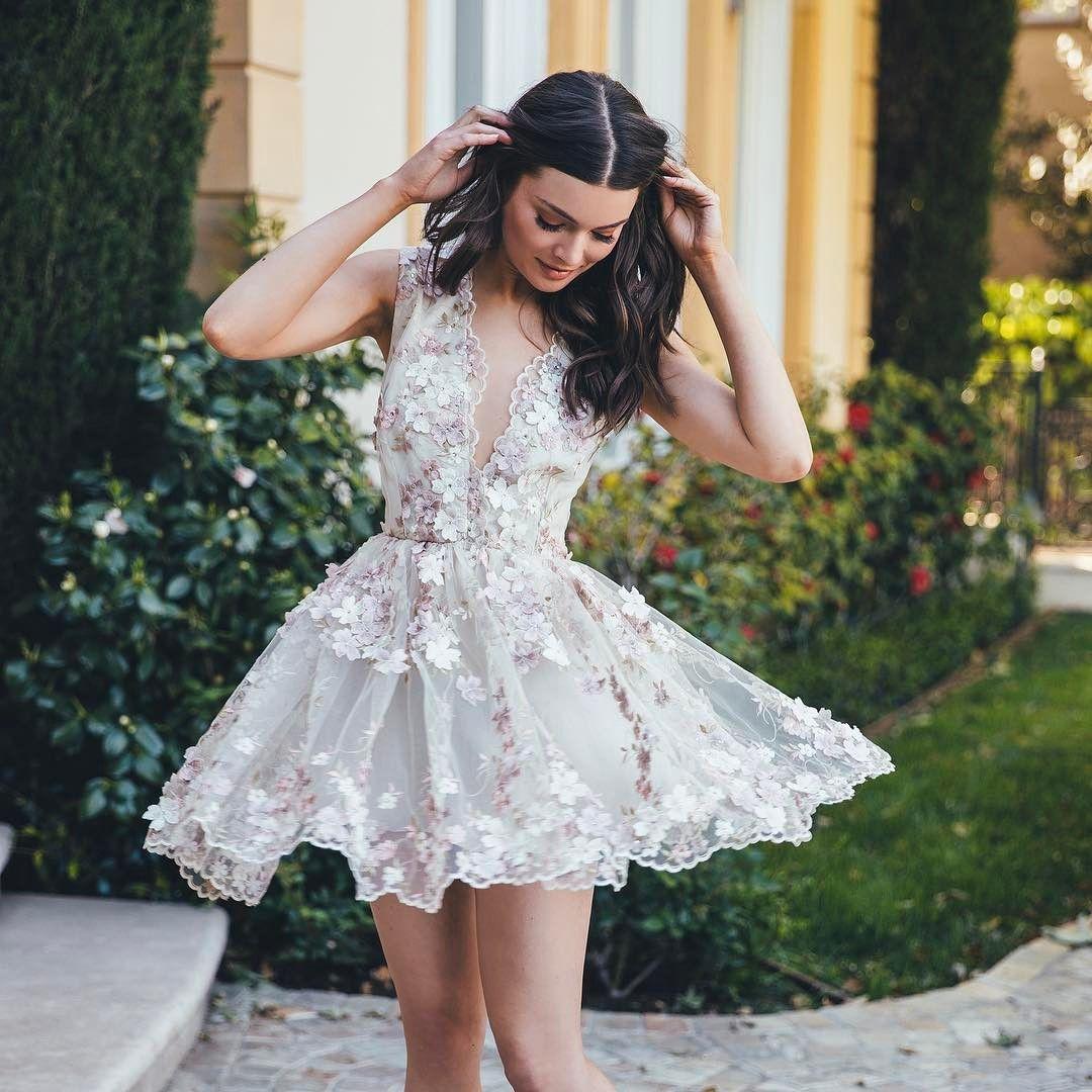 Beautiful Mini Evening Dresses With Handmade Flowers Sexy Short ...