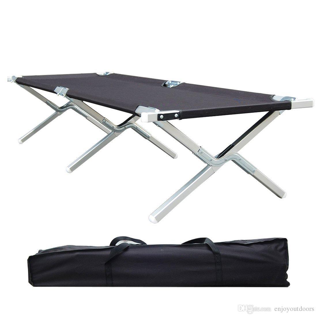 Acheter cadre en aluminium de qualité militaire pour lit de camping pliant portatif idéal pour le camp de base le camping et la chasse avec sac de