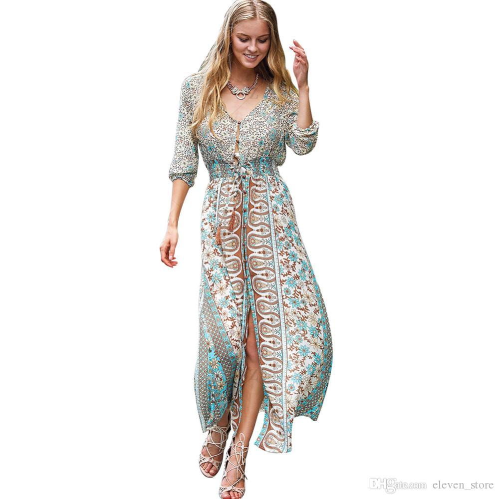 c0b7c68816 Sexy Split Boho Paisley Print Dress Women Vintage Strappy Long Dress Summer  Causal Maxi Beach Dress Vestidos 2017 Sundress Gold Dress From  Eleven store