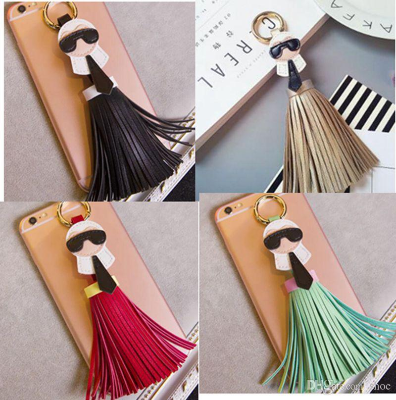 DHLfree 40pcs 12 colors Brand Genuine Tassels Monster Bag Bugs Car cellphone Ornaments Leather Tassels Bag Charm Key Chain