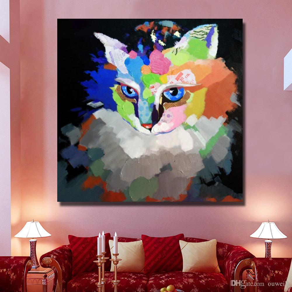 Hand painted canvas cat oil painting animal wall pictures Canvas Wall Art