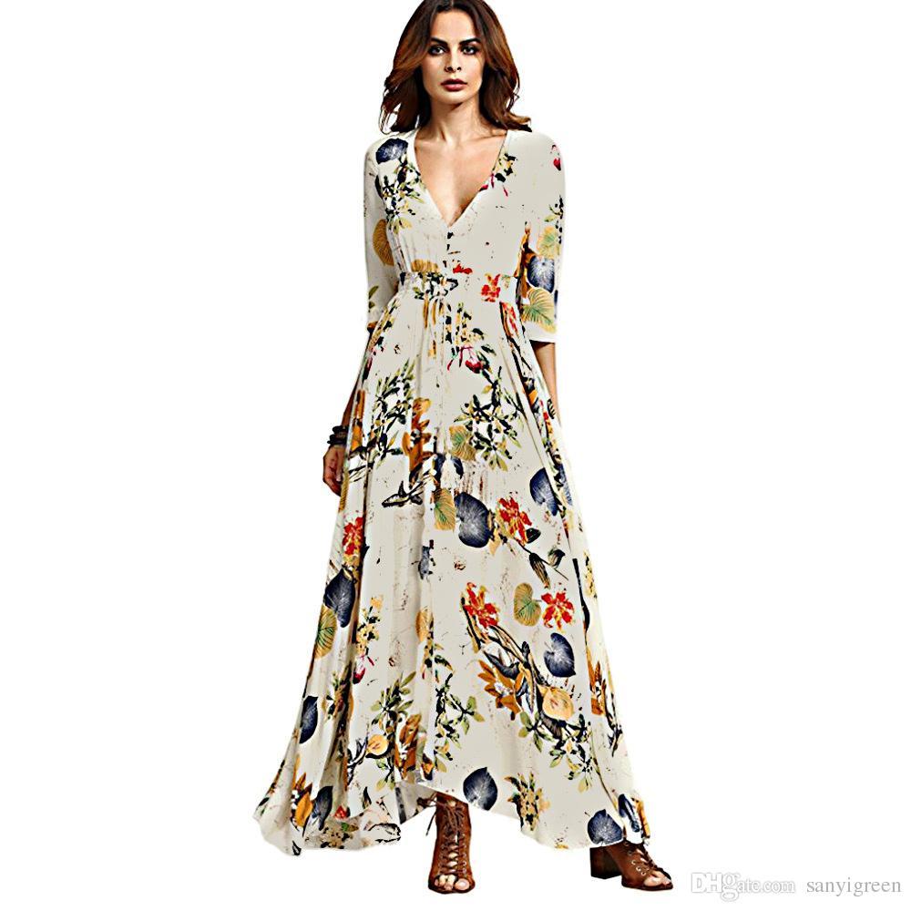 Women Summer Boho Dress Maxi Long 2017 Fashion Deep V Neck