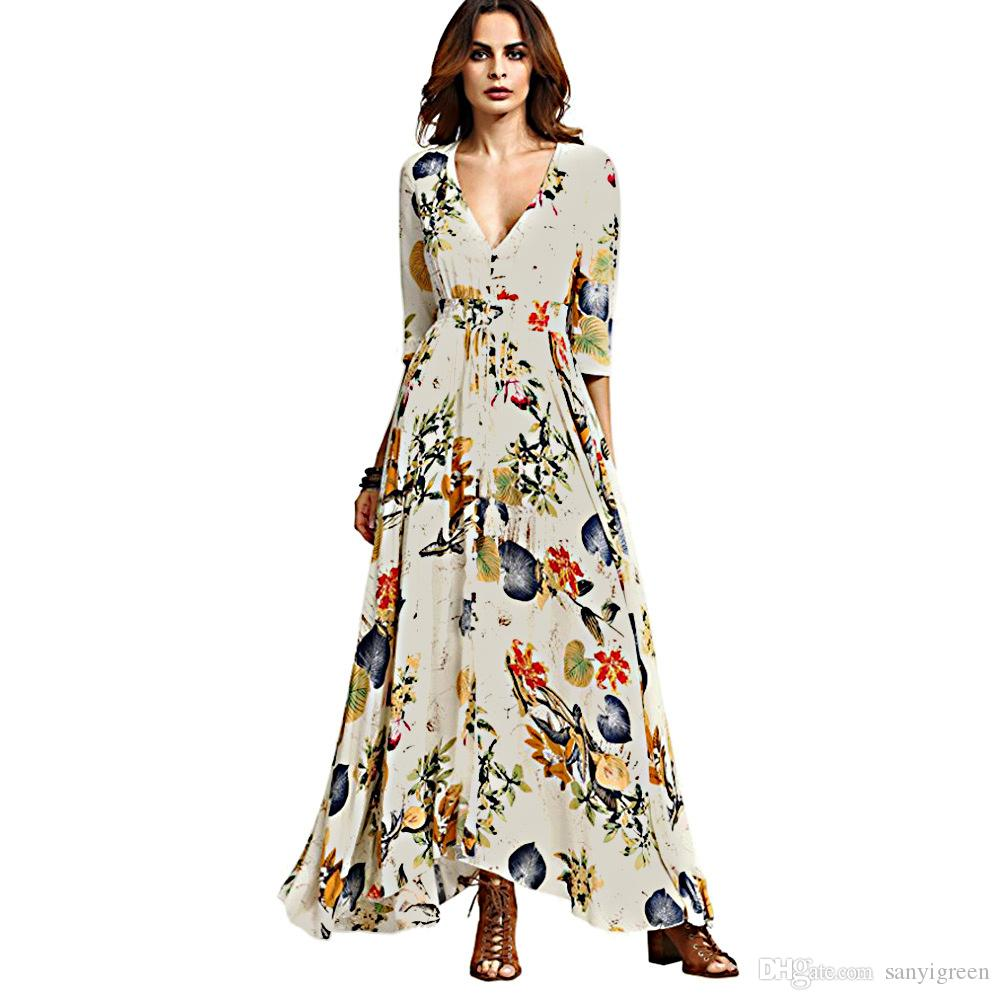 06d6874f3f35a0 Women Summer Boho Dress Maxi Long 2019 Fashion Deep V-neck Three Quarter  Floral Print Beach Casual Ladeis Bohemian Dresses Online with  21.56 Piece  on ...