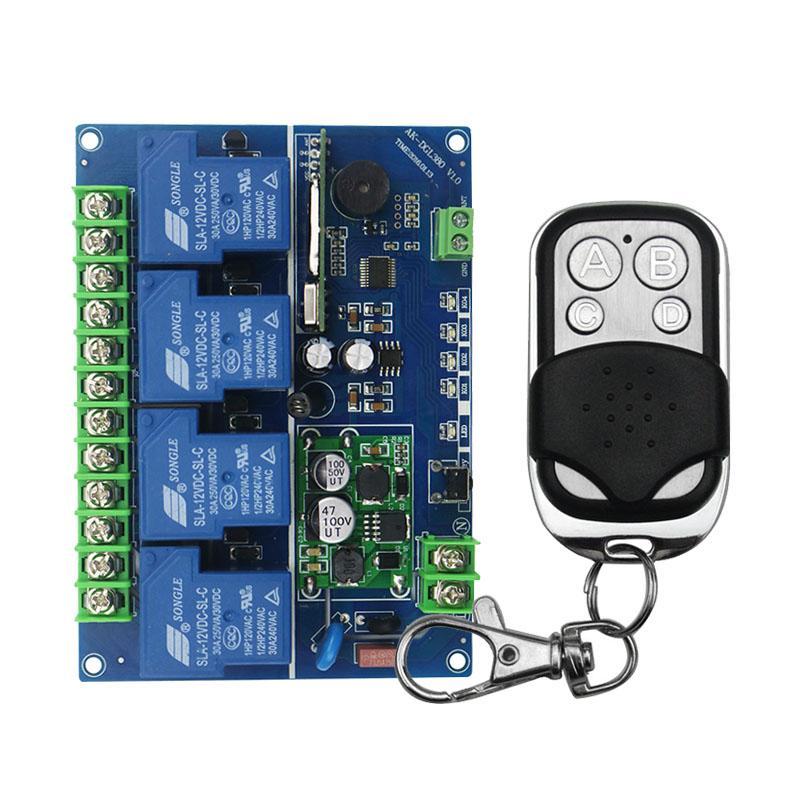 3052eb962bf35 Compre Atacado Ampla Tensão 12V 24V 36V 48V 4CH 30A RF Controle Remoto Sem  Fio Relé Switch Sistema De Segurança Portas De Garagem Portas Elétricas 04I  De ...