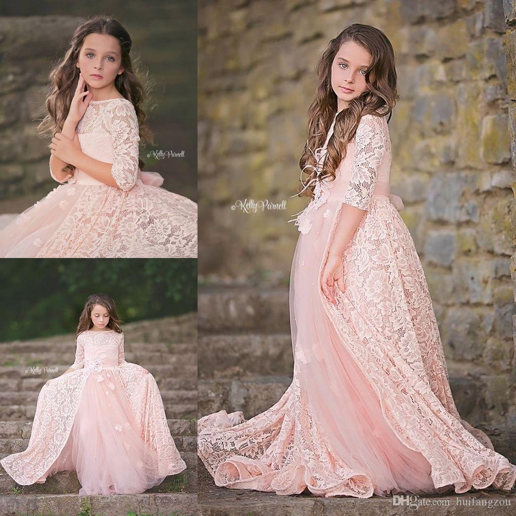 Adorable Lace Pink Flower Girls Dresses With Over Skirt Long Sleeves