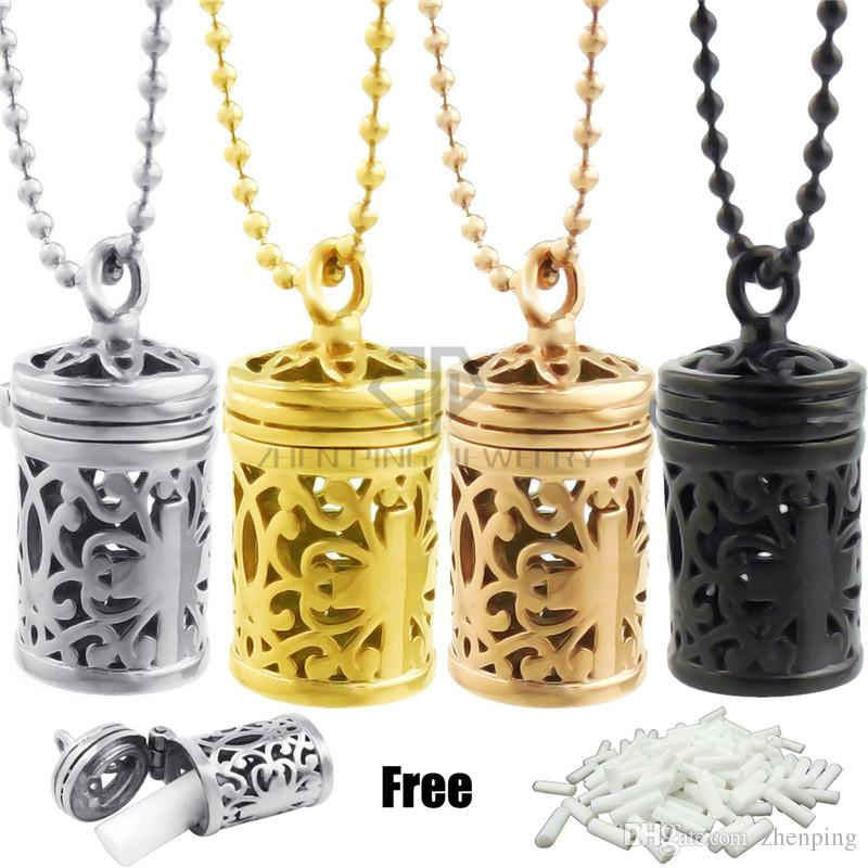 Hollow Out Barrel Cross Desgin Aromatherapy Perfume Necklace Essential Oil Locket Pendant Necklaces With Free Steel Color Ball Chain