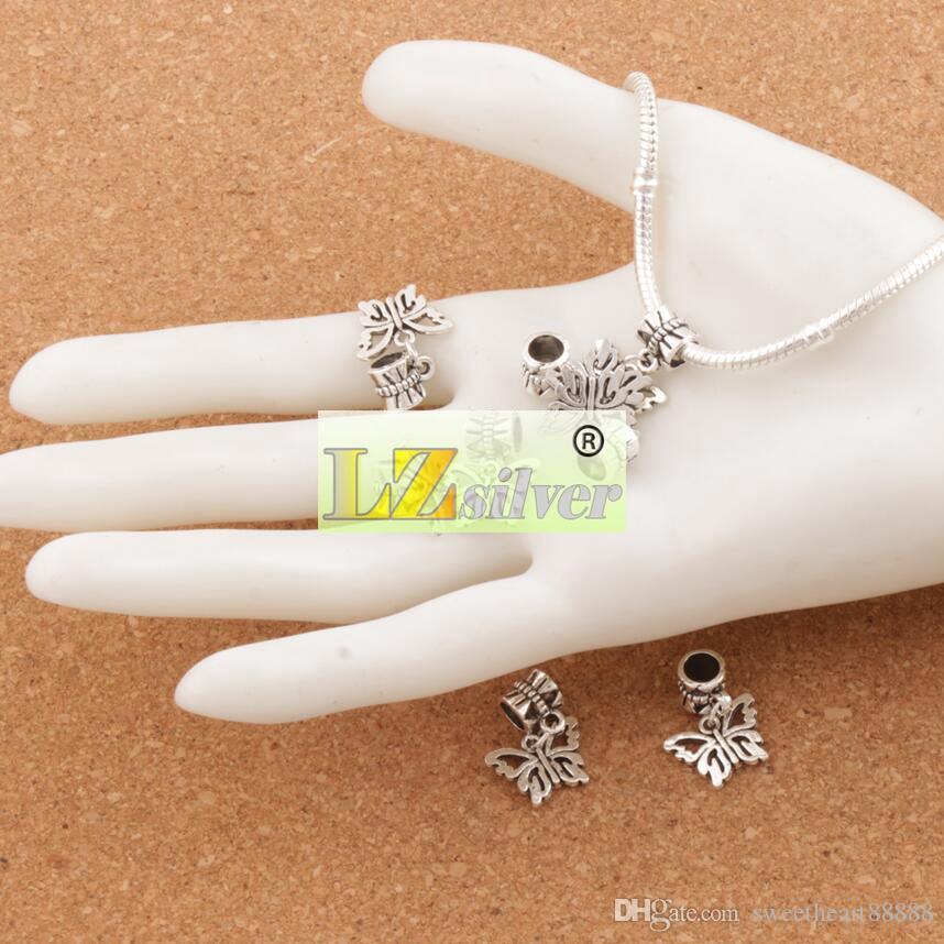 Flor aberta Papilio Borboleta Big Hole Beads 100 pçs / lote Antique Prata Fit Charme Europeu Pulseiras Jóias DIY B1108 15x30mm