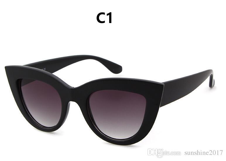 Gafas de sol de ojo de gato gafas de sol de mujer espejo gafas de sol femeninas para mujeres revestimiento de gafas 2017 marca de moda negro gafas de sol de color rosa