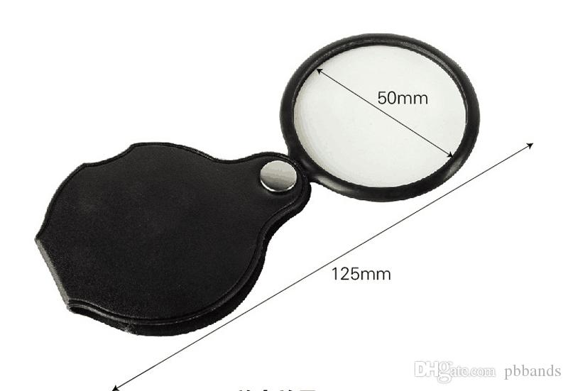 Microscopio Portátil Lupa Lupa 60mm 50mm Diámetro 5X Ronda Lupa MG86034 w Cubierta Negro