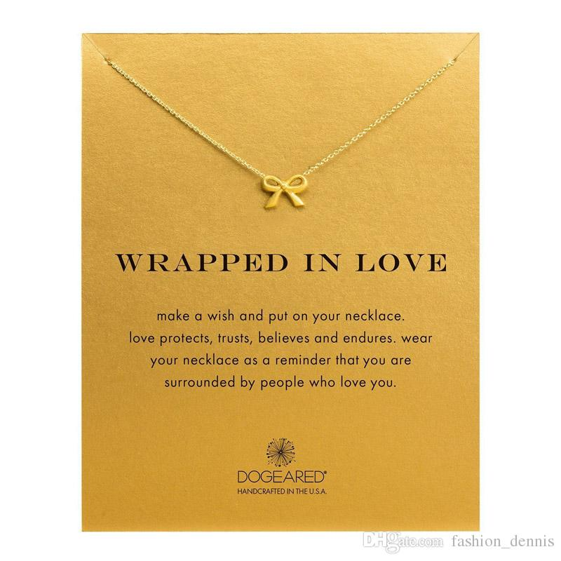 Nuove collane Dogearted con carta Gold Elephant Heart Key Clover Clover Horseshoe Triangle Charm Collana del pendente le donne Regalo dei monili di modo