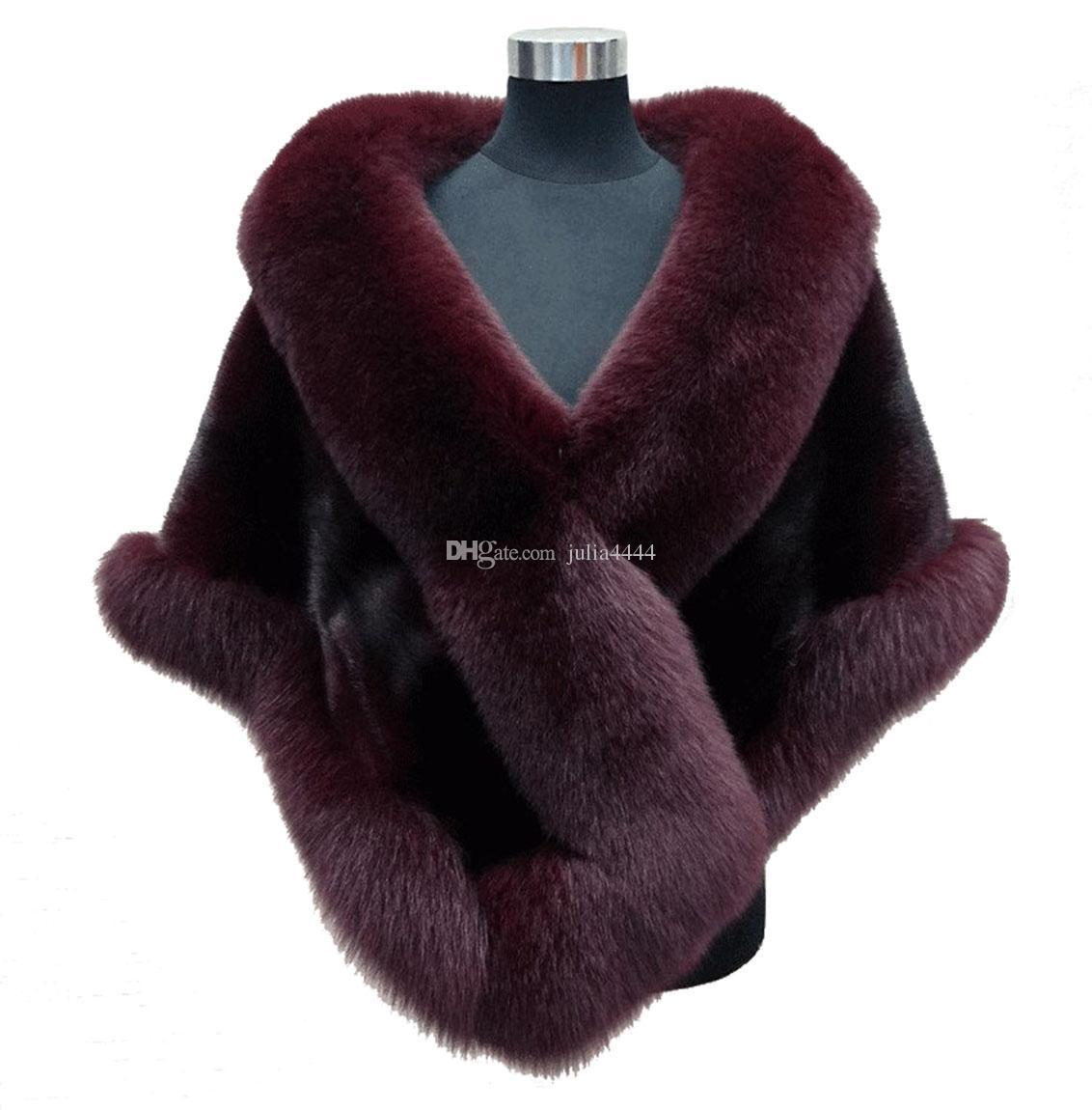 es pedidos mixtos otoño invierno 2019 más nuevo largo zorro piel sintética nupcial Wraps vestido de noche chal manto bufanda fiesta femenina cóctel