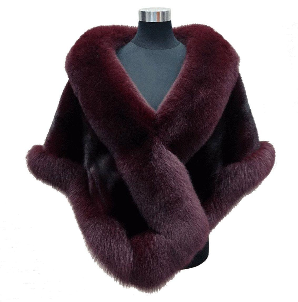 Autumn winter 2019 newest long fox faux fur bridal Wraps evening dress shawl cloak scarf female Party Cocktail