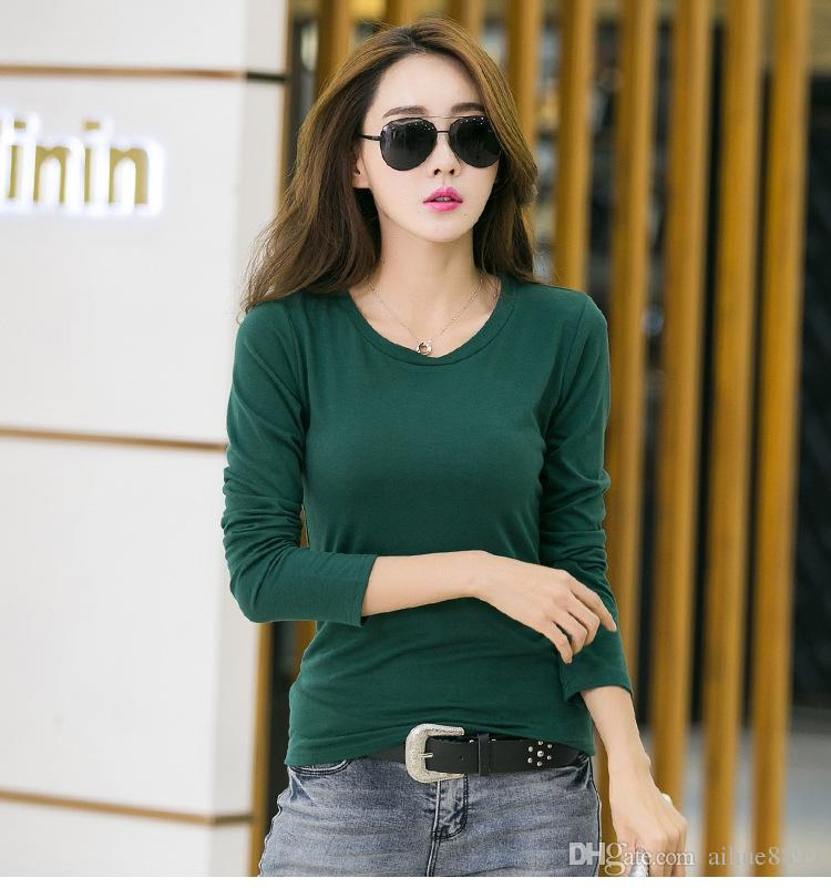 New High Quality Simple T Shirt Women Solid color Tees Plain Cotton long sleeve T-shirt Female Tops Black
