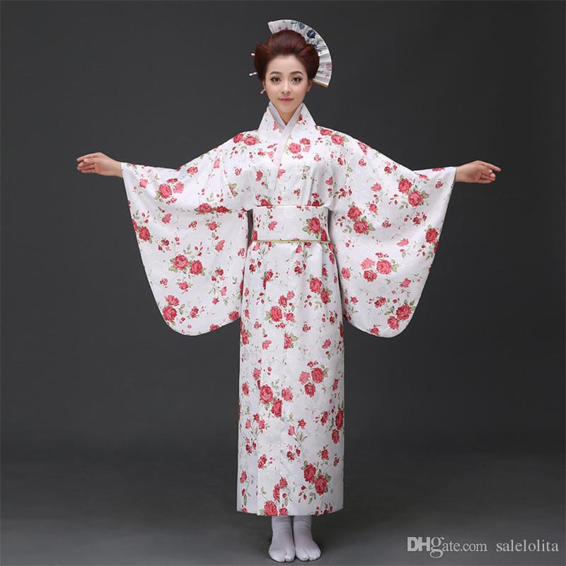 c678e8fcc5c Floral Printed Japanese Kimono Clothing Women Yukata Traditional Kimonos  Female Bathrobe Japanese Ancient Clothes Tinkerbell Halloween Costume Sexy  Adult ...