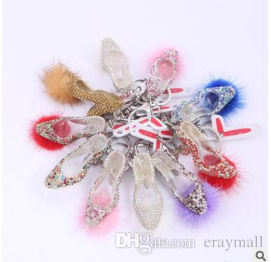 2017 new hot diamond Mink hair ball high-heeled shoes keychains creative diamond girls' bag keychain hang decoration