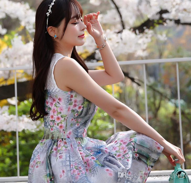 Europa e nos Estados Unidos verão nova versão coreana da doce impressão Eugen fio vestido sem mangas dowisi / Duo Si Si