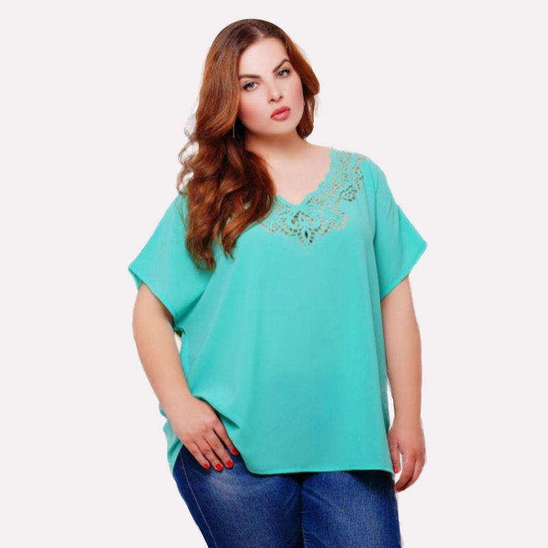 8a6df10b4 Summer Women Short Sleeve Sky Blue Chiffon Hollow-out Fat T-shirts Ladies  Loose V-neck Casual Female Pink Clothing Plus Size 6XL High Quality Women  Short ...