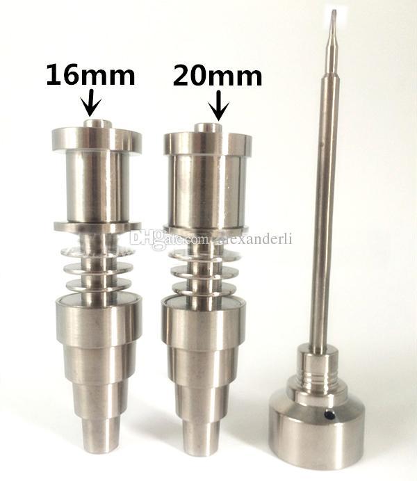 Chiodo senza titanio GR2 titanio 16mm / 20mm D-chiodo Chiodo di ebollizione riscaldatore bobina kit entrambe le donne maschili bicchiere d'acqua di vetro