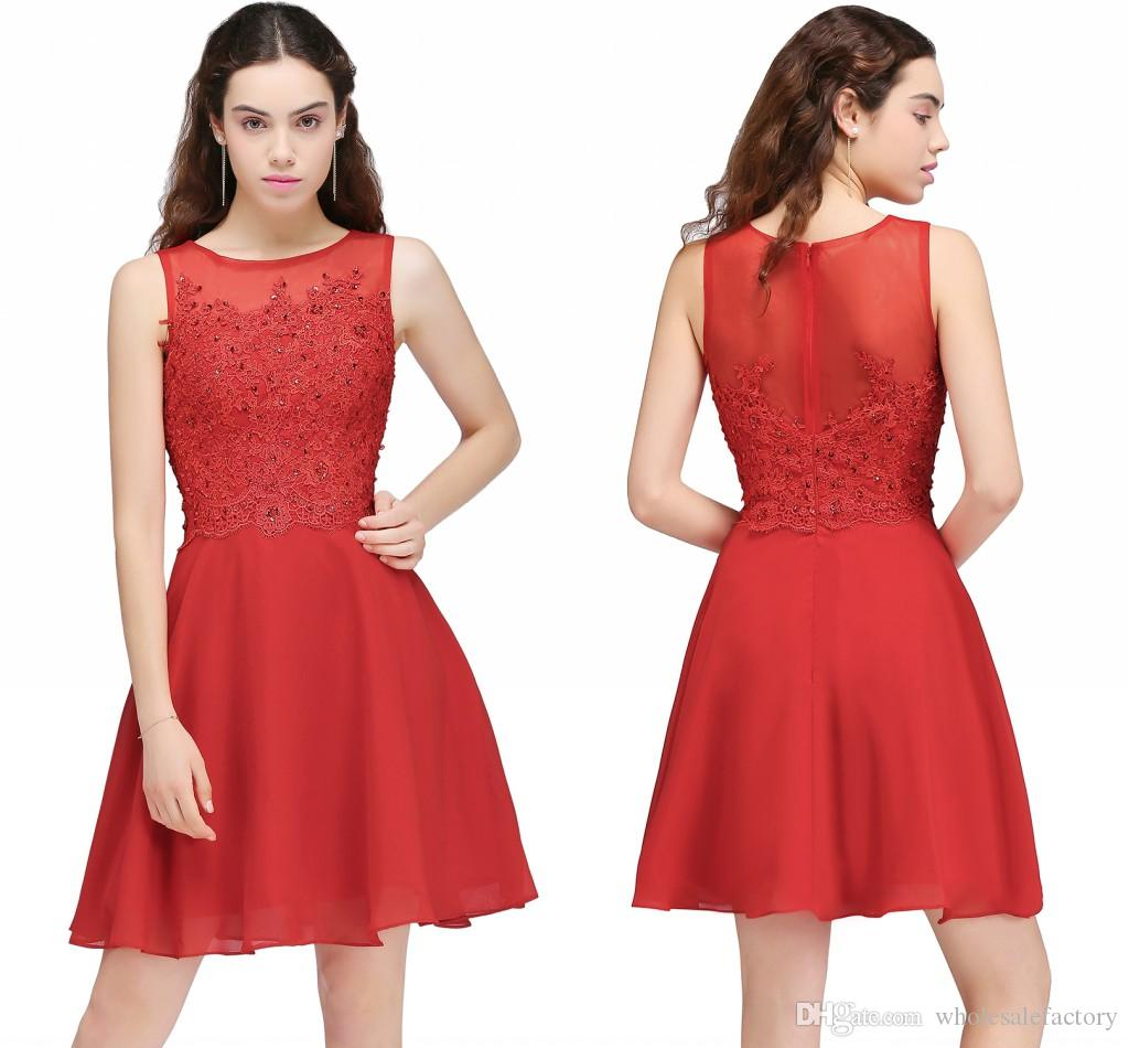 Stock Red Short A Line Homecoming Party Dresses Cheap Small Diamond ...