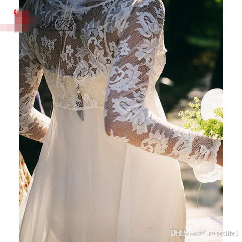 2016 Bohemian Long Sleeves Wedding Dress V Neck Empire Waist Lace Chiffon Floor Length Vintage Beach Wedding Dress Bridal Gowns