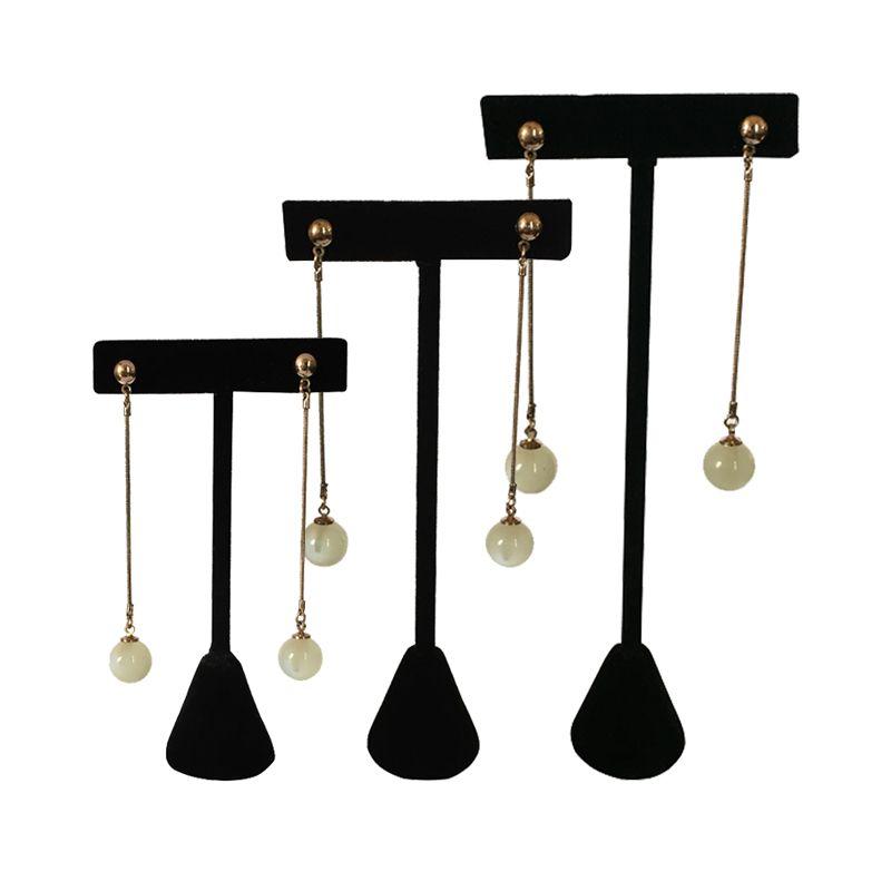 Good Quality Black Velvet Jewelry Display Rack Earring Tree Black T Bar Earring Display Holder Stud Organizer Storage Showcase Stand 3 Sizes