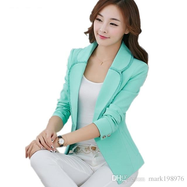 e9db7408ec28 2019 Fashion Women'S Blazers Outerwear New 2017 Spring Autumn Lace Blazer  Women Suits Short Slim Ladies Blazers Coat Jacket BZ008 From Mark198976, ...