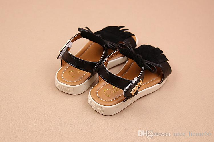 New Kids Girls Summer Shoes Children Tassel Girl Bow Sandals Baby Girls Sandals Toddler Soft Sole Moccasins Leather Sandals Giels Flat Shoes