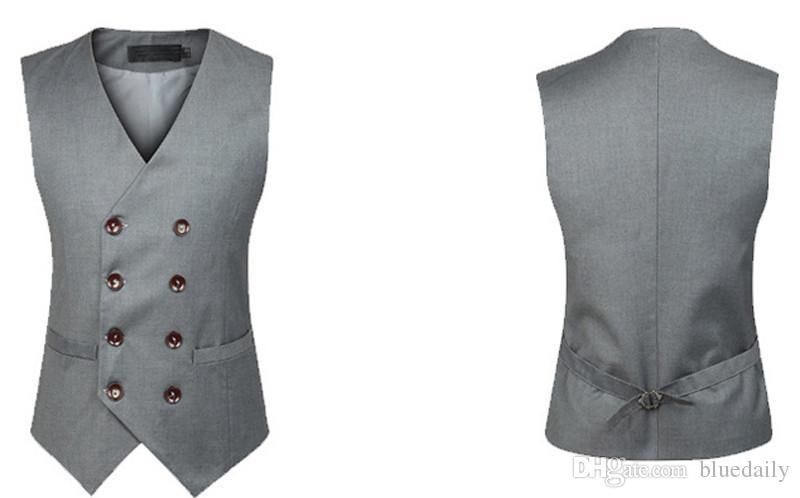 Moda asiatica Uomo Doppio Petto Slim Chaleco Gilet di cotone senza maniche Vestito Vest Vestitino maschile