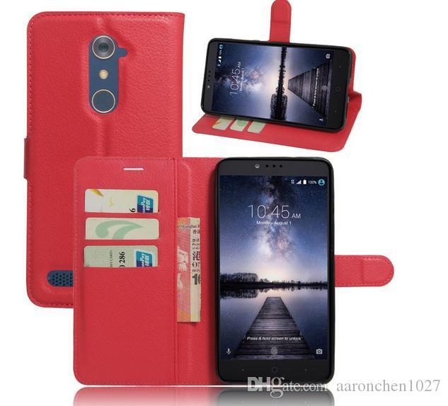 Diseño de cartera de lujo de negocios Soporte de Litchi Fundas de cuero con solapa para ZTE Zmax Pro funda del teléfono para ZTE Zmax Pro