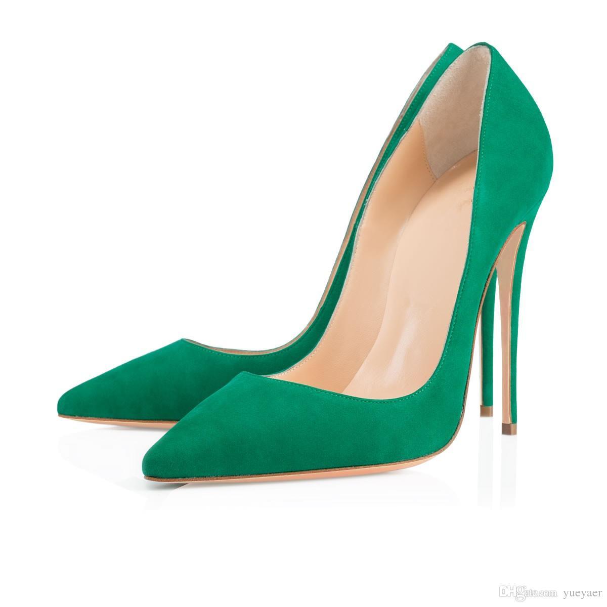 Zandina Bayanlar El Yapımı Moda ASO-kate 120mm Sivri Burun Klasik Parti Ince Topuk Pompaları Stiletto Ayakkabı Parlatıcı Yeşil