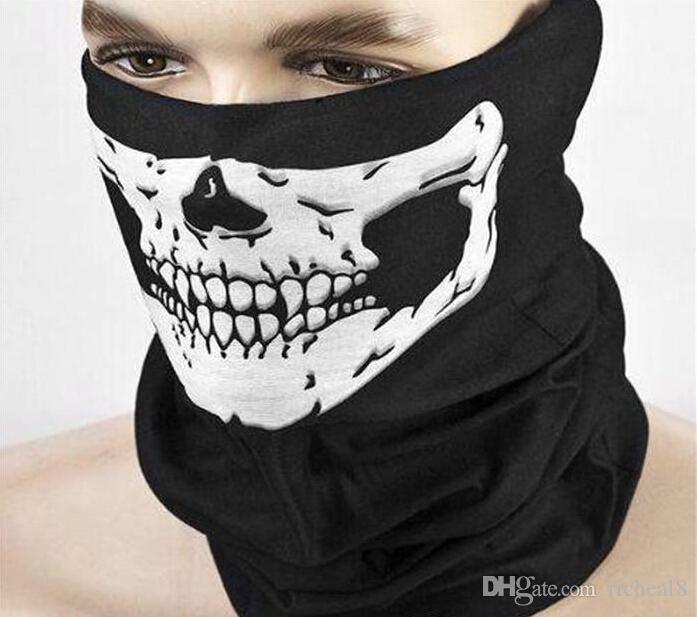 DHL Frete grátis Crânio Design Multi Função Bandana Esporte Esqui Motociclista Cachecol Máscaras Faciais Máscara Facial Ao Ar Livre Cor Preta