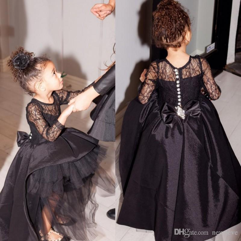 81e19e1832a Black Ball Gown Flower Girl Dress Hi Lo Little Gowns Long Sleeves Pageant  Dresses With Big Bow Ivory Flower Girl Dresses Ivory Shoes From Newdeve