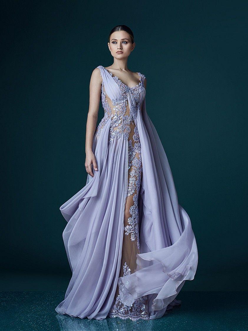 Deep V Neck Lavender Evening Dresses