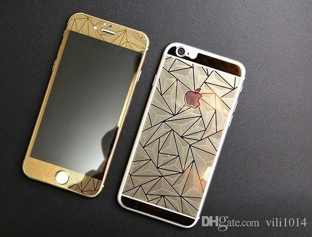 3D Diamond glitter Tempered Glass full Screen Protector rhombus electroplating sticker film for iphone 5s se 6 6s plus 7 plus