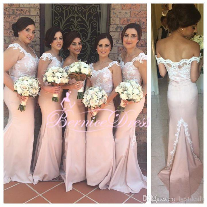 핑크 V 넥 인어 롱 신부 하녀 복장 맞춤형 신부 들러리 드레스 저렴한 새로운 도착