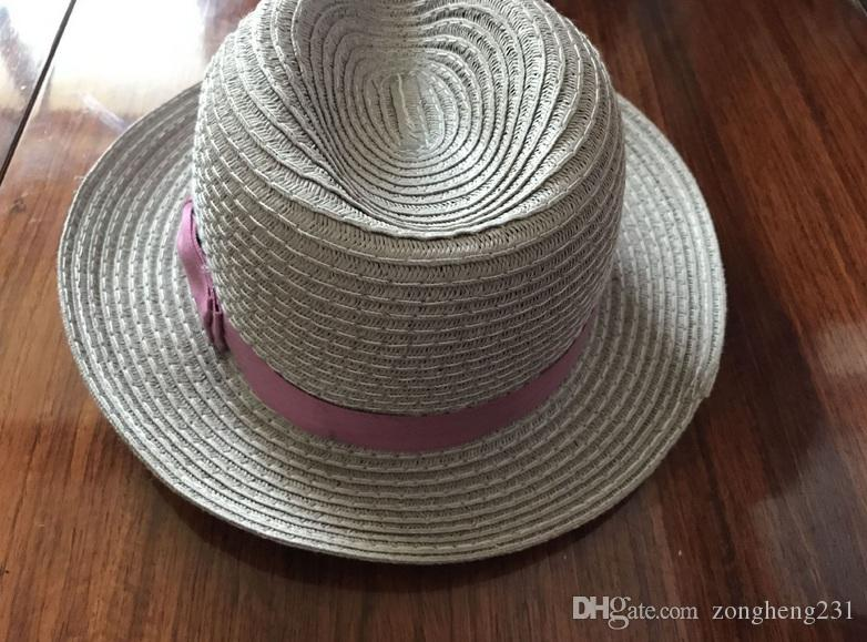 50CM Unisex Kids Straw Trilby Fedora Cap Jazz Hat Short Brim Sunat