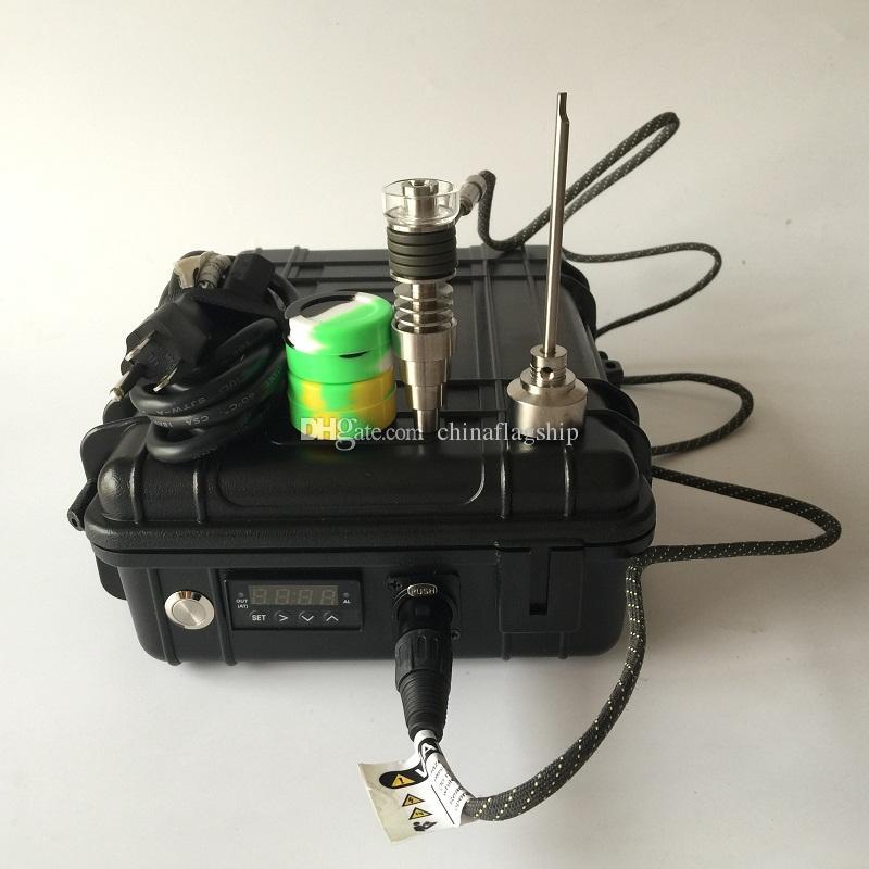 DHL ücretsiz taşınabilir Kılıf D dijital Tırnak kiti E dijital Tırnak elektrikli dab tırnak ısıtıcı bobin ile Bakır kaplama cam yağ teçhizatı