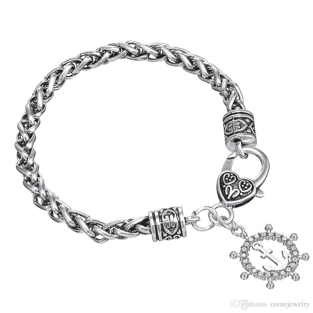 New Design Zinc Alloy Nautical Anchor Rudder Pendant Bracelet For Friends Gift Jewelry