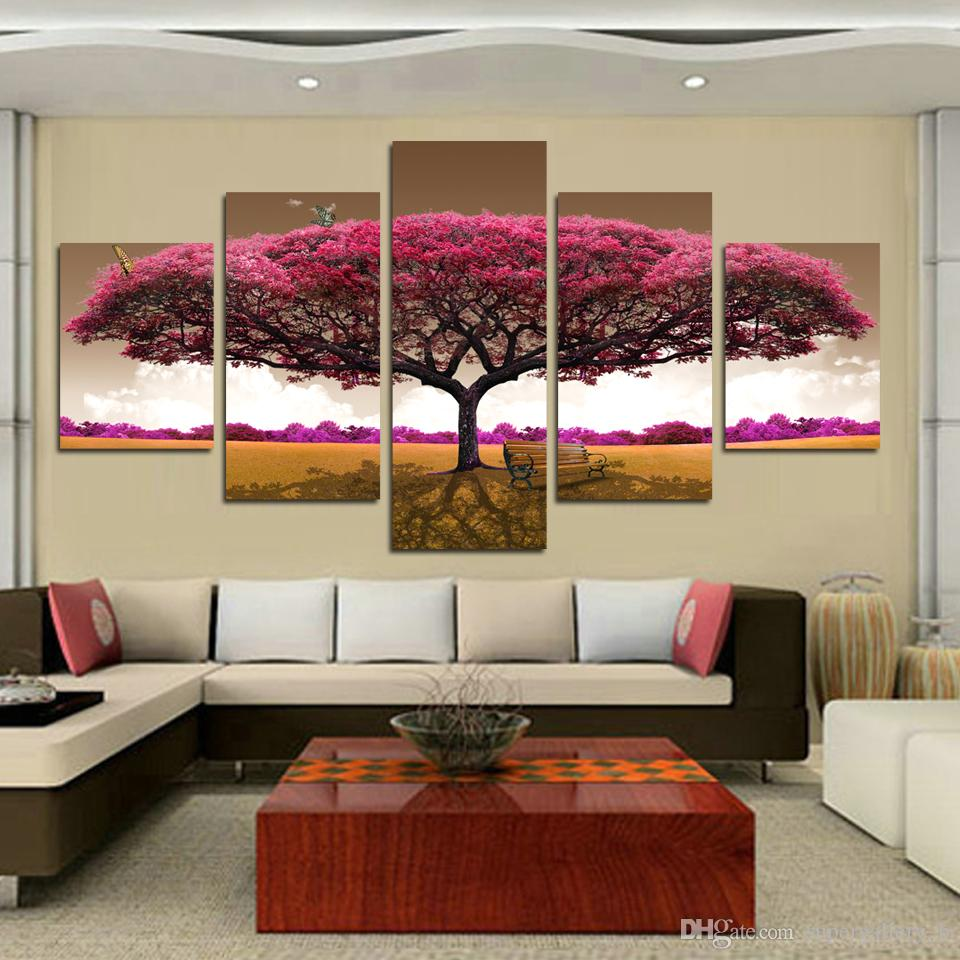 2018 framed 5 panels hot sell hd print purple tree for Decor 2 sell