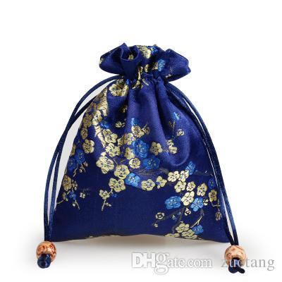 Элегантный вишня цветет небольшой подарок мешок шнурок шелк парчи ювелирные изделия хранения сумки ткань упаковка мешок монета карман с подкладкой 11 х 14 см