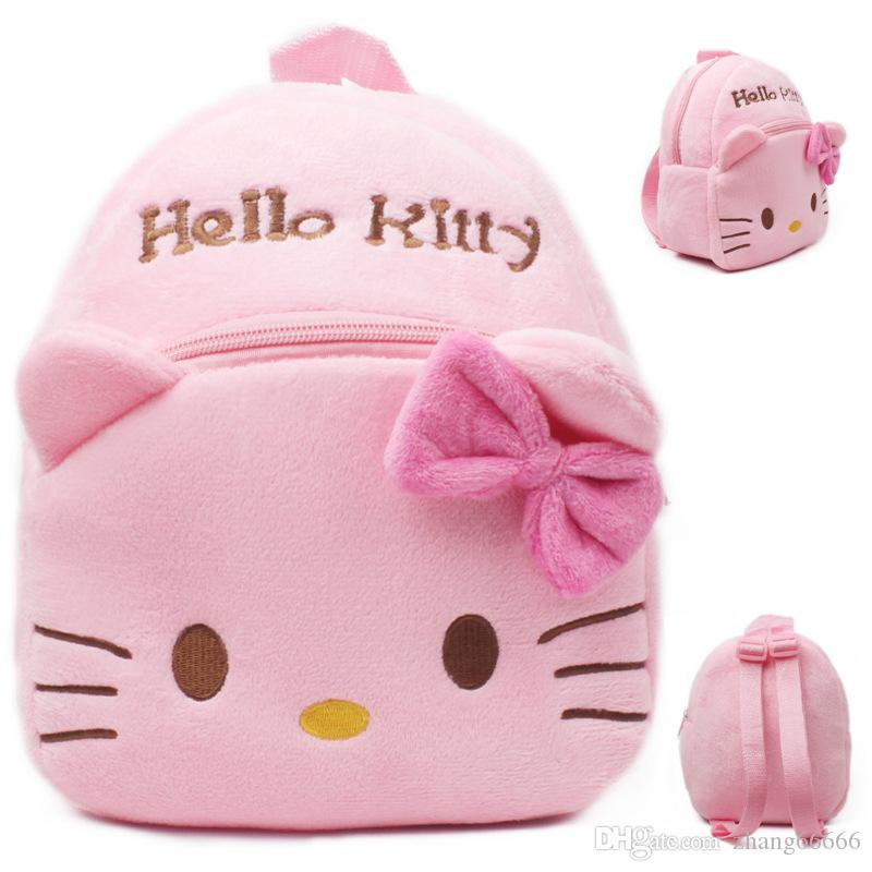 2017 New High Quality Hello Kitty Plush School Bag Cartoon Soft Backpack  Girl Toy Schoolbag Baby Cute Mini Bags For Kids Gift Hobo Bags Kids  Backpacks From ... 782ba38f83f3b
