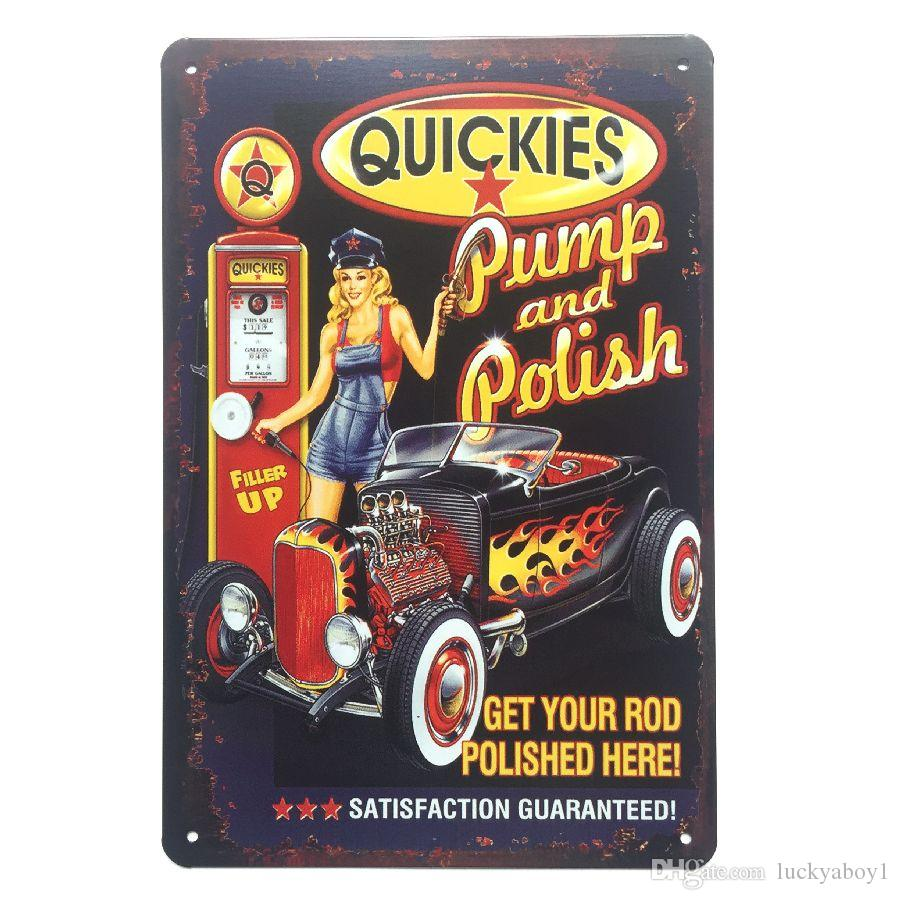 Rod Pump and Polish Retro Vintage Metal Tin sign poster for Man Cave Garage shabby chic wall sticker Cafe Bar home decor