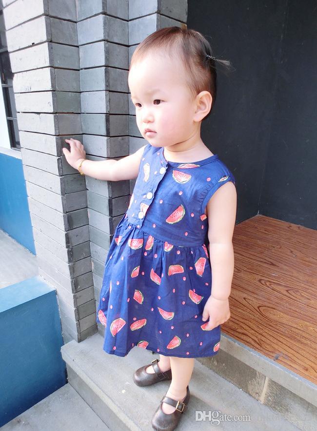 Été Mignon Bébé Filles Vêtements Enfants Robes De Mode Bleu Imprimer Pastèque Sans Manches Robe Enfants Vêtements 2-7Y